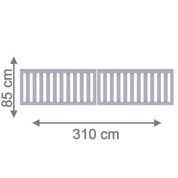 TraumGarten Gartentor Kunststoff Longlife Cleo Doppeltor grau - 310 x 85 cm