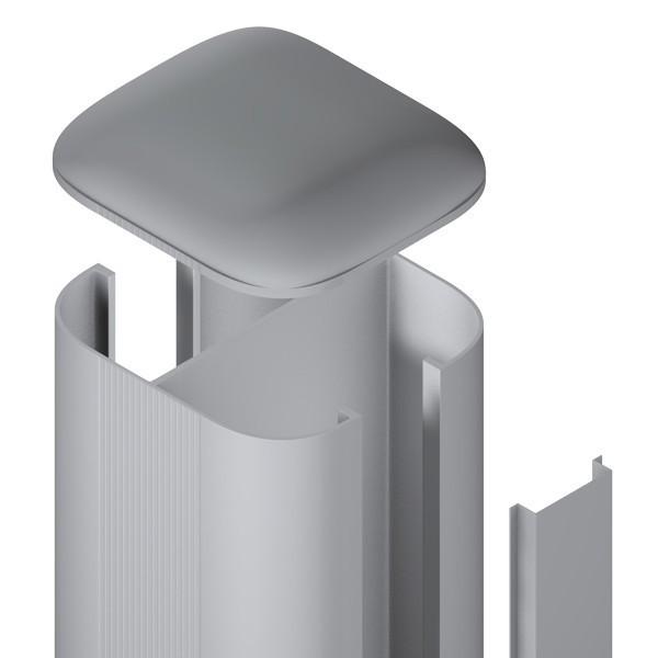 TraumGarten Zaunpfosten System Steckpfosten Set zum Aufschrauben - Silber - 7 x 7 x 105 cm