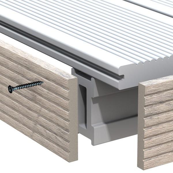 TraumGarten Abschlussleiste DreamDeck WPC BiColor sand - 8 x 1 x 200 cm
