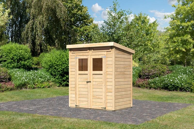 Karibu Holz-Gartenhaus Merseburg 2 - 14 mm Pultdach im Steck- und Schraubsystem - naturbelassen