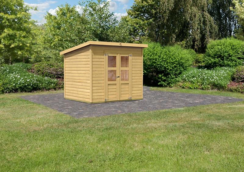 Karibu Holz-Gartenhaus Merseburg 5 - 14 mm Pultdach im Steck- und Schraubsystem - naturbelassen