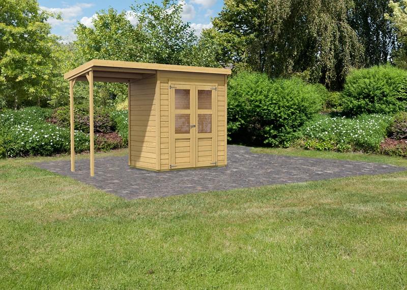 Sonderangebot: Karibu Holz-Gartenhaus Merseburg 2 im Set mit Anbaudach - 14 mm Pultdach im Steck- und Schraubsystem  - naturbelassen