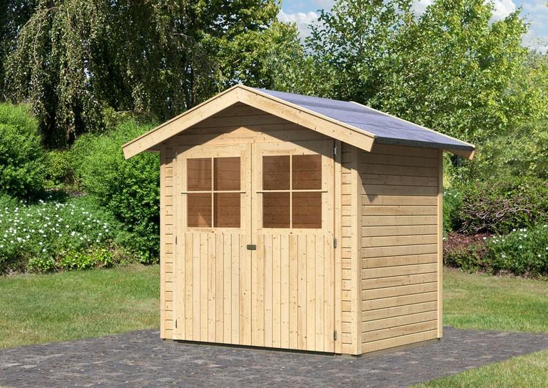 Karibu Holz-Gartenhaus Harburg 2 - 19 mm Schraub- Stecksystem   - naturbelassen