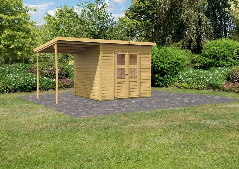Sonderangebot: Karibu Holz-Gartenhaus Merseburg 5 im Set mit Anbaudach - 14 mm Pultdach im Steck- und Schraubsystem  - naturbelassen