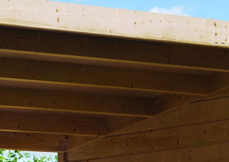 Sonderangebot: Karibu Holz-Gartenhaus Merseburg 3 im Set mit Anbaudach  - 14 mm Pultdach im Steck- und Schraubsystem  - naturbelassen