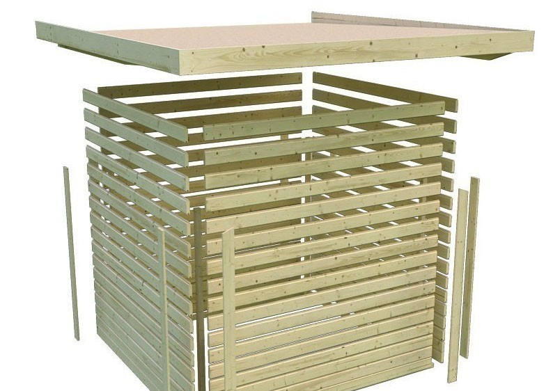 Karibu Holz-Gartenhaus Glücksburg 2 - 19 mm Pultdach Schraub- Stecksystem - terragrau