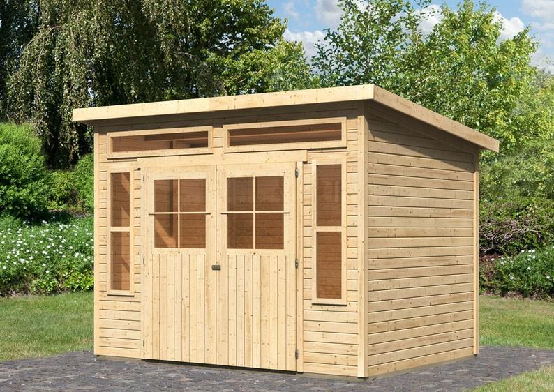 Karibu Holz-Gartenhaus Tinkenau 6 - 19 mm Pultdach Schraub- Stecksystem - naturbelassen