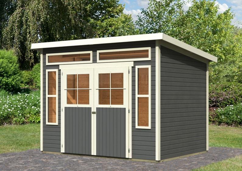 Karibu Holz-Gartenhaus Tinkenau 6 - 19 mm Pultdach Schraub- Stecksystem - terragrau