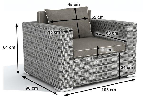 Rattan XXL Loungemöbel Espace Sessel - Farbe: grau braun meliert