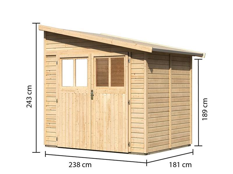 Karibu Holz-Anlehngartenhaus Bomlitz 2 - 19 mm Wandstärke (dreiwandig) - 9 cbm umbauter Raum - naturbelassen