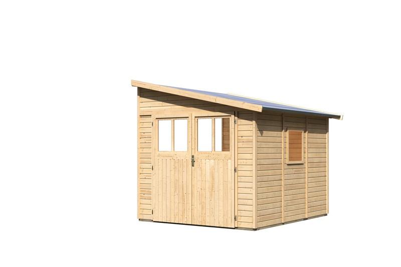 Karibu Holz-Gartenhaus Bomlitz 3 Anlehngartenhaus - 19 mm Wandstärke( dreiwandig)  - naturbelassen
