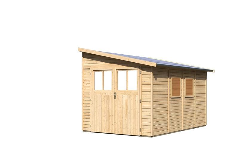 Karibu Holz-Gartenhaus Bomlitz 4 Anlehngartenhaus - 19 mm Wandstärke( dreiwandig)  - naturbelassen