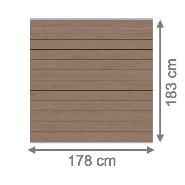 TraumGarten Sichtschutzzaun System WPC Set mandel / silber - 178 x 183 cm