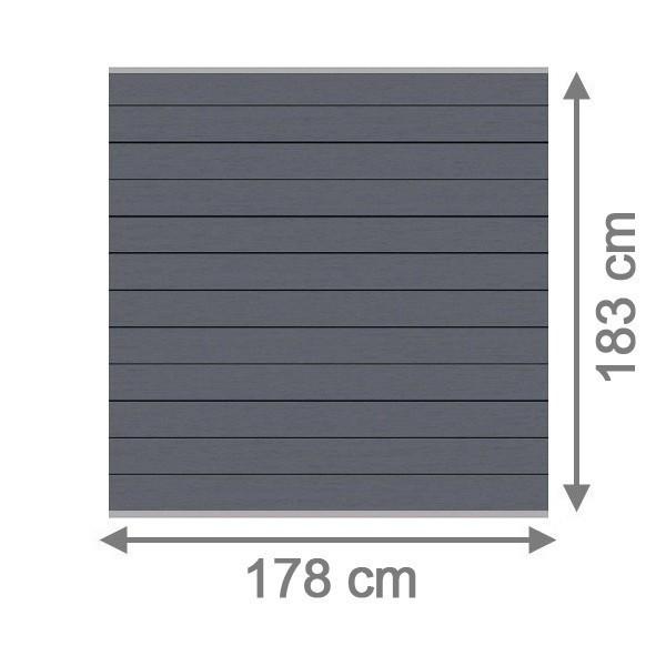 TraumGarten Sichtschutzzaun System WPC Set anthrazit / silber - 178 x 183 cm