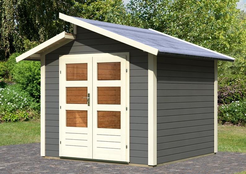 Karibu Holz-Gartenhaus Holz-Gartenhaus Grönelo Stufendach 28 mm System - terragrau