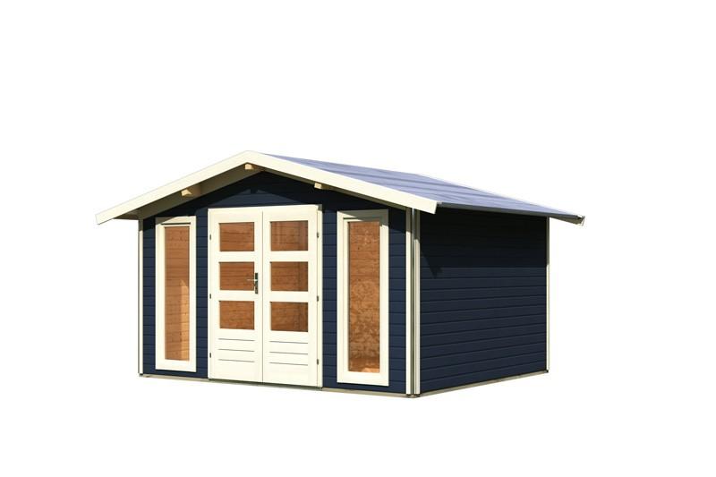 Karibu Holz-Gartenhaus Bensburg 1 Satteldach 40 mm System - opalgrau