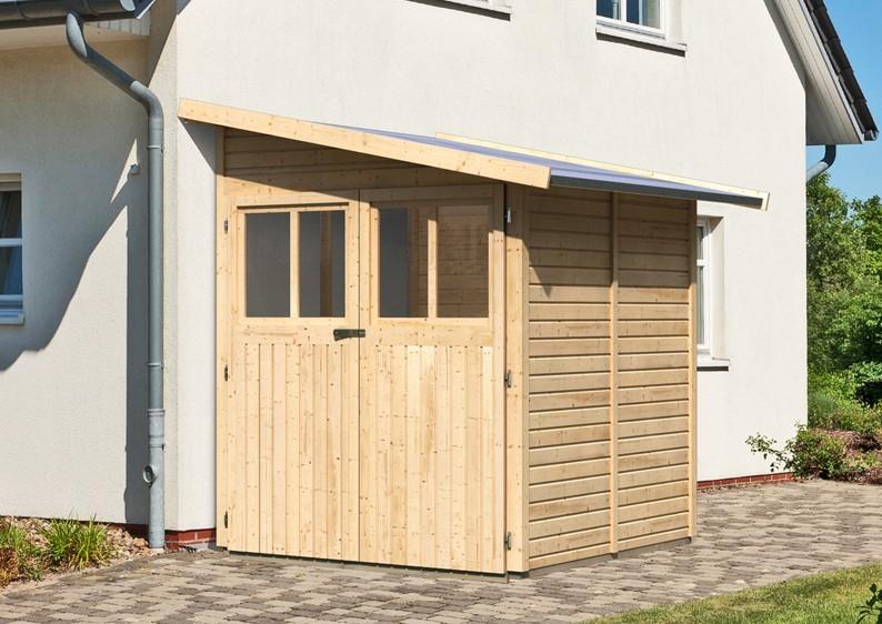 Karibu Holz-Gartenhaus Wandlitz 2 Anlehngartenhaus - 19 mm Wandstärke( dreiwandig)  - naturbelassen