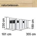 Karibu Holz-Gartenhaus Wandlitz 4 Anlehngartenhaus  - 19 mm Wandstärke( dreiwandig)  - naturbelassen