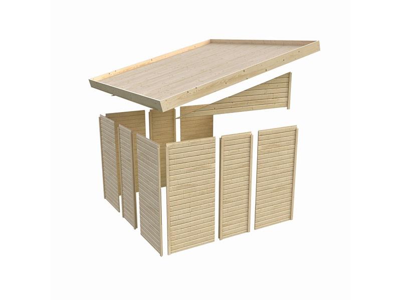 Karibu Holz-Anlehngartenhaus Wandlitz 4 - 19 mm Wandstärke (dreiwandig) - 11,6 cbm umbauter Raum - naturbelassen