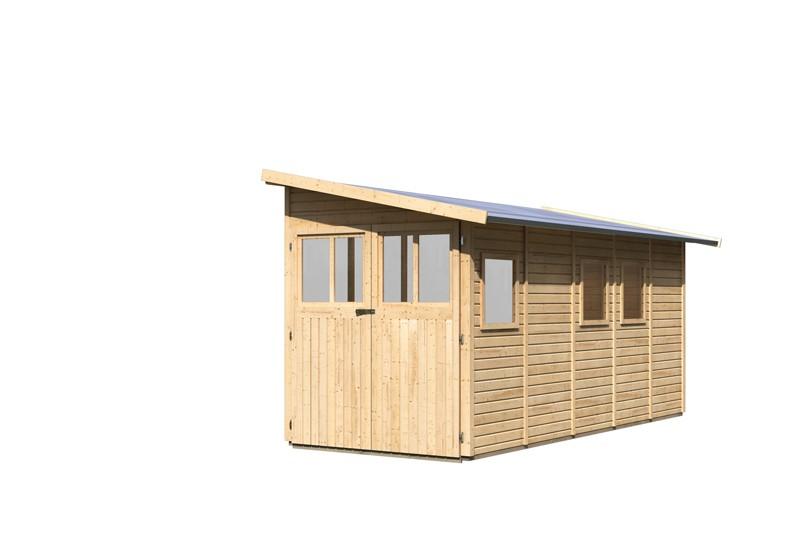 Karibu Holz-Gartenhaus Wandlitz 5 Anlehngartenhaus - 19 mm Wandstärke( dreiwandig)  - naturbelassen