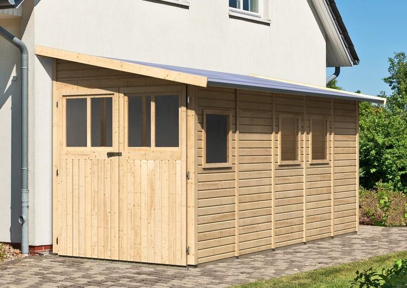 Karibu Holz-Gartenhaus Wandlitz 5 Anlehnhaus - 19 mm Wandstärke( dreiwandig)  - naturbelassen