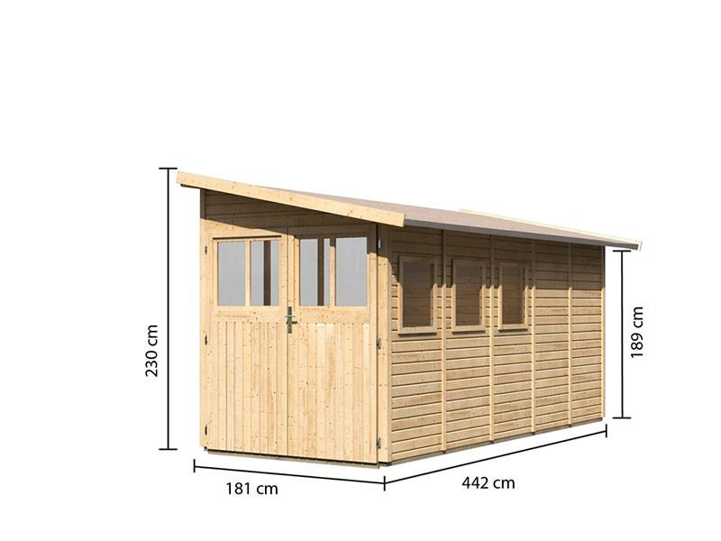 Karibu Holz-Anlehngartenhaus Wandlitz 5 - 19 mm Wandstärke (dreiwandig) - 14,5 cbm umbauter Raum - naturbelassen
