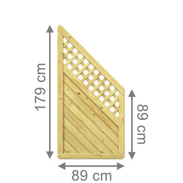 TraumGarten Sichtschutzzaun Holzzaun Gada Anschluss mit Gitter kdi - 89 x 179 auf 89 cm