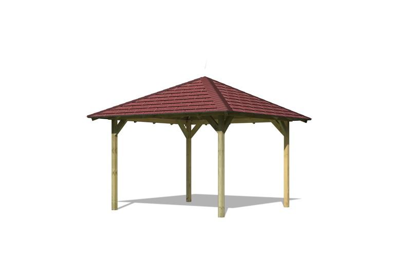 Set: Karibu Holzpavillon Cordoba 4-Eck-Pavillon Eco - inkl. roten Dachschindeln