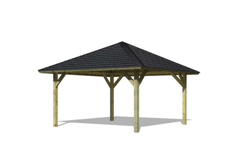 Set: Karibu Holzpavillon Holm 1 4-Eck-Pavillon Premium - inkl. schwarzen Dachschindeln