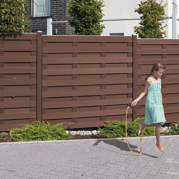 TraumGarten Sichtschutzzaun Jumbo WPC Anschluss braun - 74 x 179 auf 90 cm