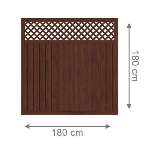 TraumGarten Sichtschutzzaun Kunststoff Longlife Riva Rechteck mit Gitter nussbaum - 180 x 180 cm