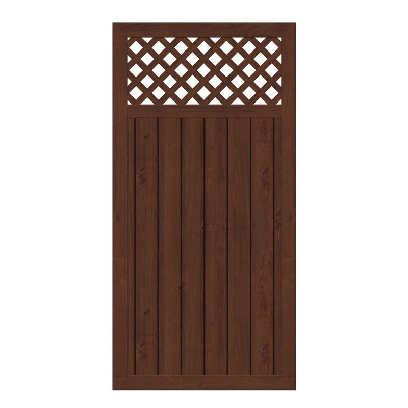 TraumGarten Sichtschutzzaun Kunststoff Longlife Riva Rechteck mit Gitter nussbaum - 90 x 180 cm