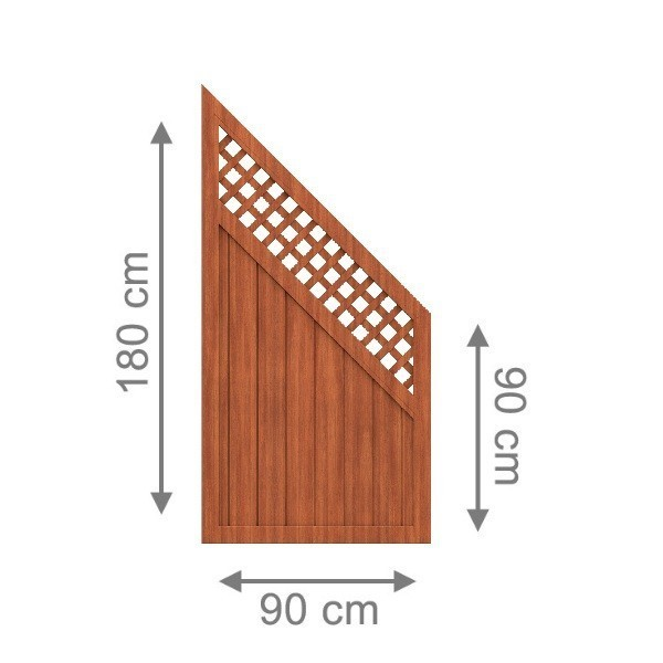 TraumGarten Sichtschutzzaun Longlife Riva Anschluss mit Gitter braun - 90 x 180 auf 90 cm