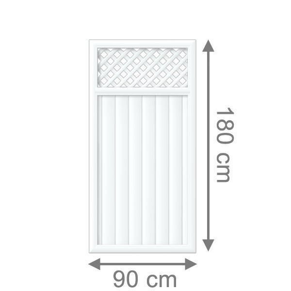TraumGarten Sichtschutzzaun Kunststoff Longlife Riva Rechteck mit Gitter weiß - 90 x 180 cm