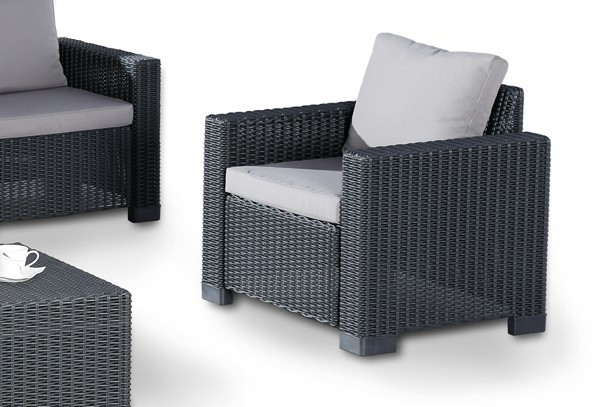 Best 4-tlg. Lounge Gruppe Mombasa, Farbe: graphit-hellgrau