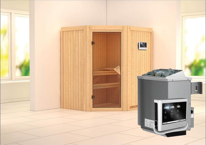 Karibu Heimsauna Taurin (Eckeinstieg) Ofen 9 KW externe Strg easy Kein Kranz 68 mm Systemsauna