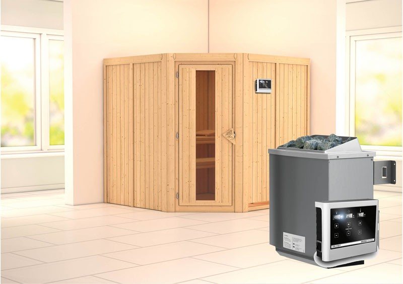 Karibu Heimsauna Jarin (Eckeinstieg) Ofen 9 KW externe Strg easy Kein Kranz 68 mm Systemsauna