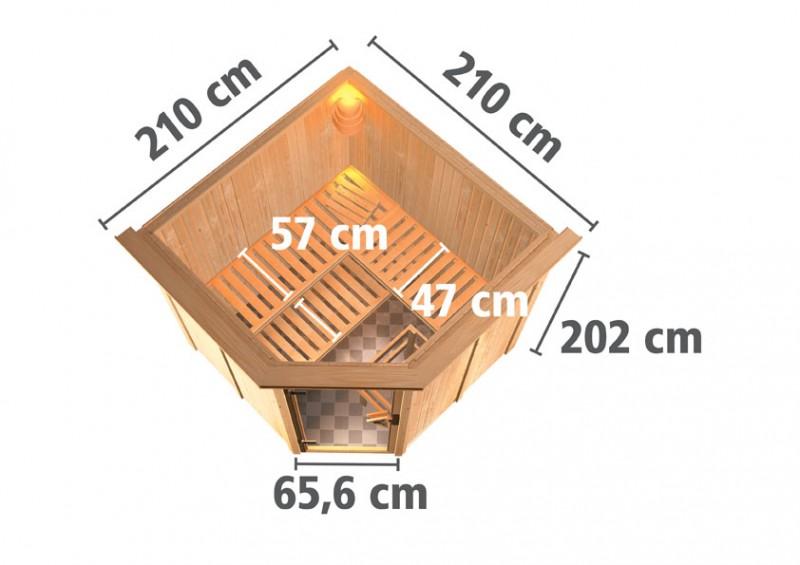 Karibu 68mm Systembausauna Jarin Eckeinstieg mit Energiespar Tür - mit Dachkranz