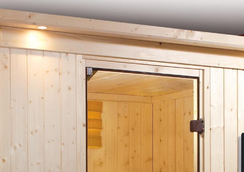 Karibu Heimsauna Jarin (Eckeinstieg) Ofen 9 kW integr. Strg  mit Dachkranz 68 mm Systemsauna