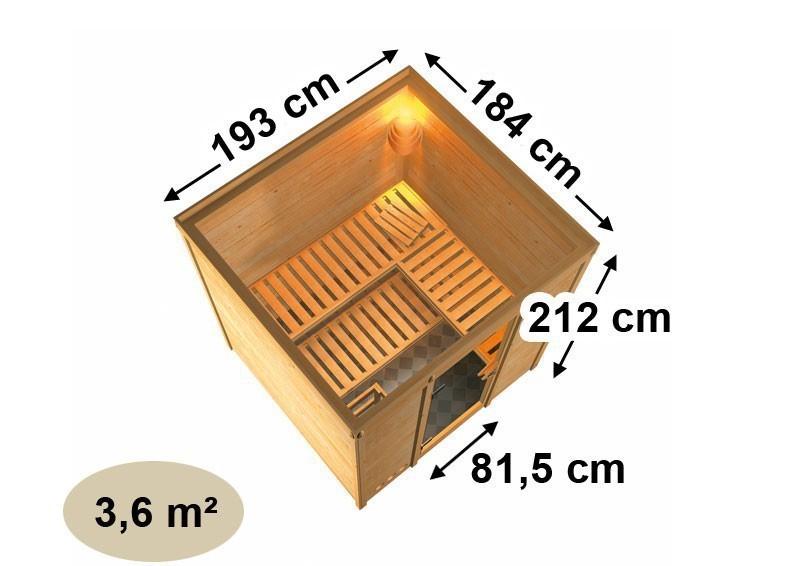 Karibu Heimsauna Mojave (Fronteinstieg)   Ofen 9 kW Bio externe Strg easy Kein Kranz 40 mm Massivholzsauna
