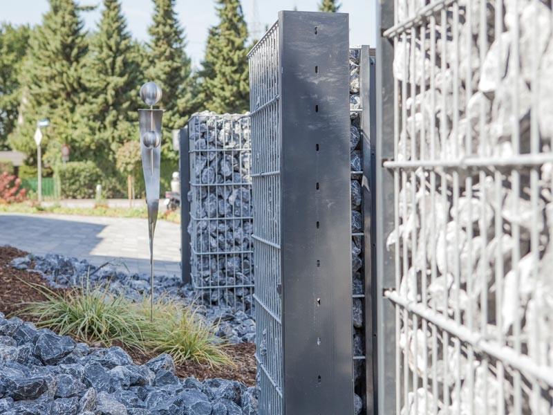Gabionen Pfosten - Set SAPHIR / C - Profil - Zink - Pfostenhöhe: 2445mm