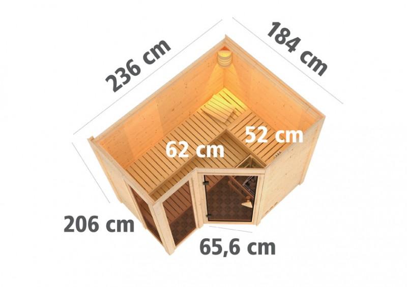Karibu 40mm Massivholzsauna Amara Eckeinstieg und Bronzierter Tür - ohne Dachkranz - inkl. Fensterelemente