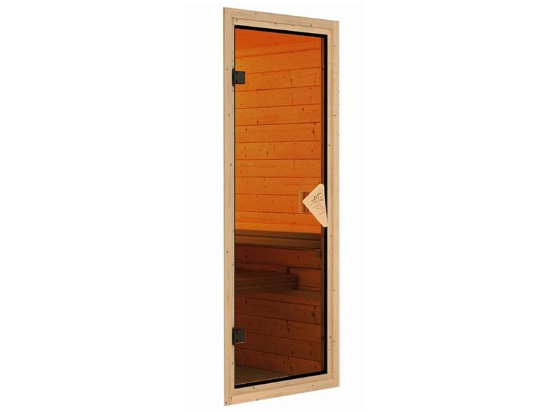 Karibu 40mm Comfort Massivholzsauna Amara - Eckeinstieg - Ganzglastür bronziert - 2 große Fenster - ohne Dachkranz - 9kW Saunaofen mit externer Steuerung Easy