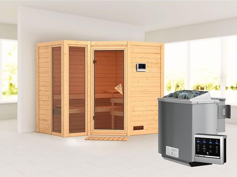 Karibu 40mm Comfort Massivholzsauna Amara - Eckeinstieg - Ganzglastür bronziert - 2 große Fenster - ohne Dachkranz - 9kW Bio-Kombiofen mit externer Steuerung Easy bio