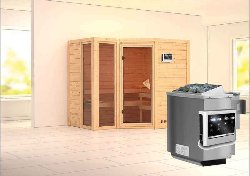 Karibu Heimsauna Amara (Eckeinstieg) Ofen 9 kW Bio externe Strg easy Kein Kranz 40 mm Massivholzsauna