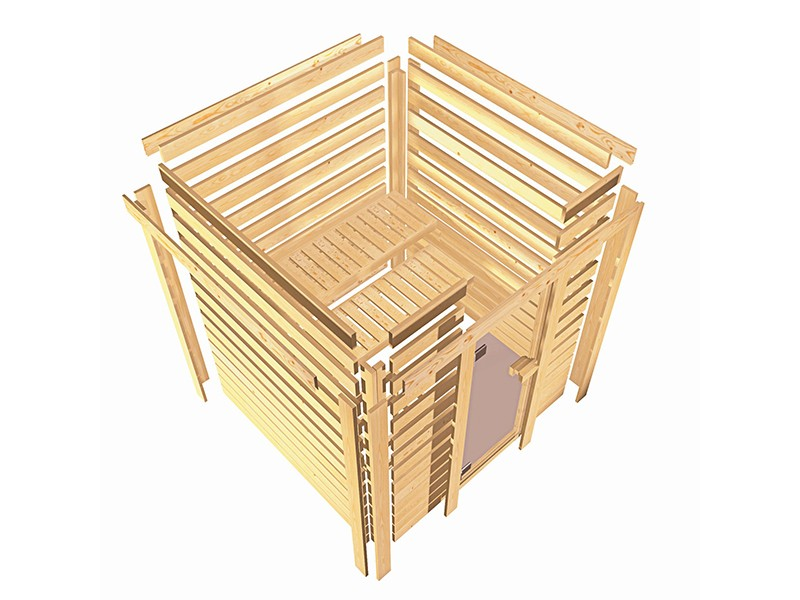 Karibu 40mm Comfort Massivholzsauna Amara - Eckeinstieg - Ganzglastür bronziert - 2 große Fenster - mit Dachkranz