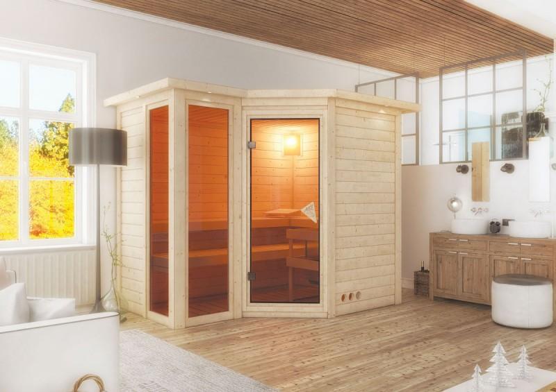 Karibu 40mm Massivholzsauna Amara Eckeinstieg und Bronzierter Tür - mit Dachkranz - inkl. Fensterelemente