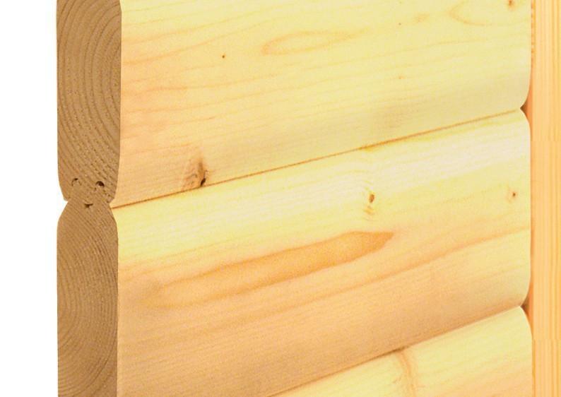 Karibu Heimsauna Amara (Eckeinstieg) Ofen 9 kW integr. Strg  mit Dachkranz 40 mm Massivholzsauna