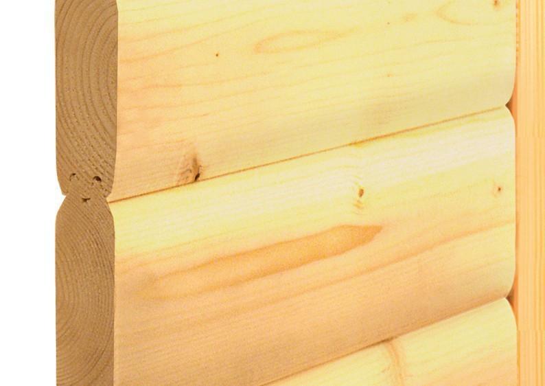 Karibu Heimsauna Amara (Eckeinstieg) Ofen 9 KW externe Strg easy mit Dachkranz 40 mm Massivholzsauna