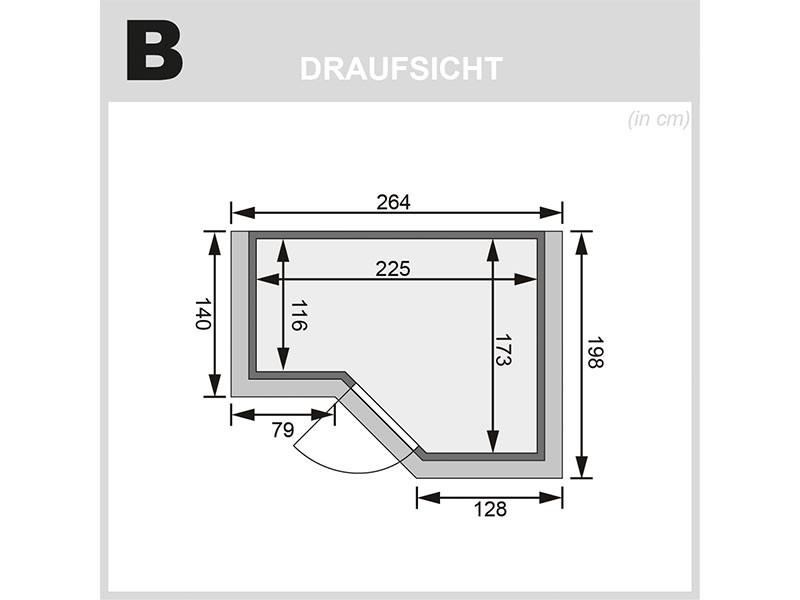 Karibu 40mm Comfort Massivholzsauna Amara - Eckeinstieg - Ganzglastür bronziert - 2 große Fenster - mit Dachkranz - 9kW Bio-Kombiofen mit externer Steuerung Easy bio